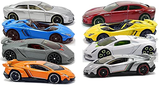 amazoncom hot wheels 2014 lamborghini 8 car set sesto elemento need for speed veneno estoque aventador j toys games
