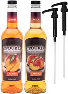 Upouria Mango & Peach Flavored Syrups, 100% Vegan and Gluten-Free, 750ml bottles - Set of 2 - Pumps included