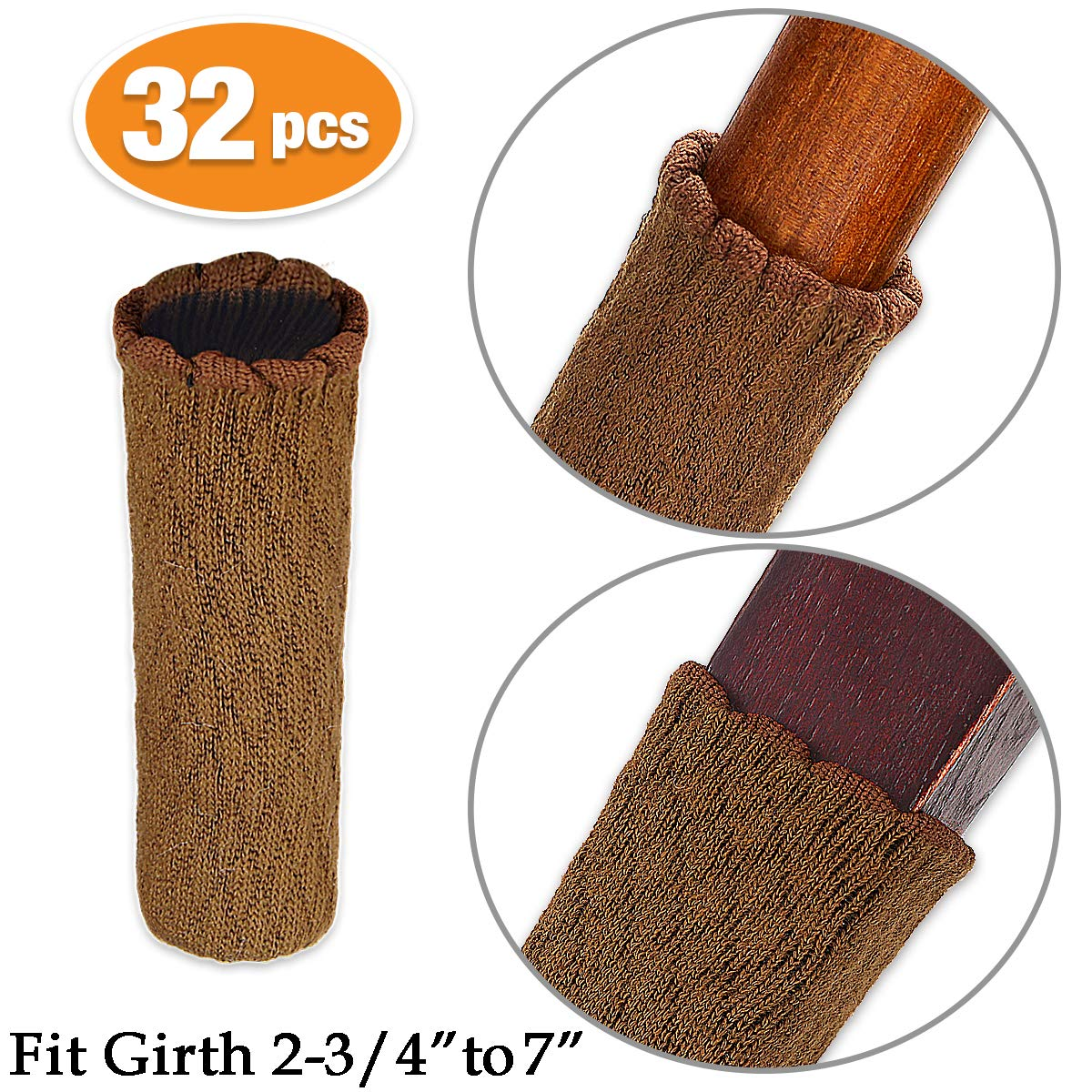 MelonBoat Chair Leg Socks, Hardwood Floor Protectors, Furniture Feet Caps Covers, Fit Girth 2-3/4'' to 7'', 32 Pack Cross Knitted Brown