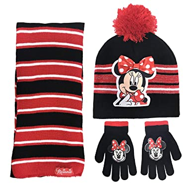 66235bce68c Image Unavailable. Image not available for. Color  Disney Minnie Mouse  Girls 3 Piece Beanie Hat ...
