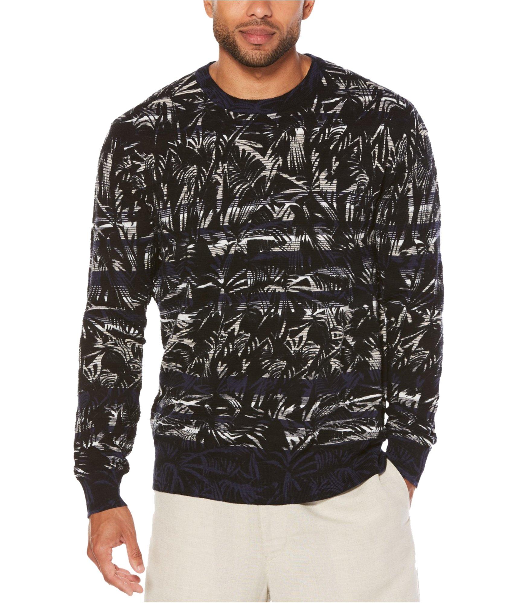 Cubavera Men's Long-Sleeve Crew Neck Printed Sweater, Peacoat, M