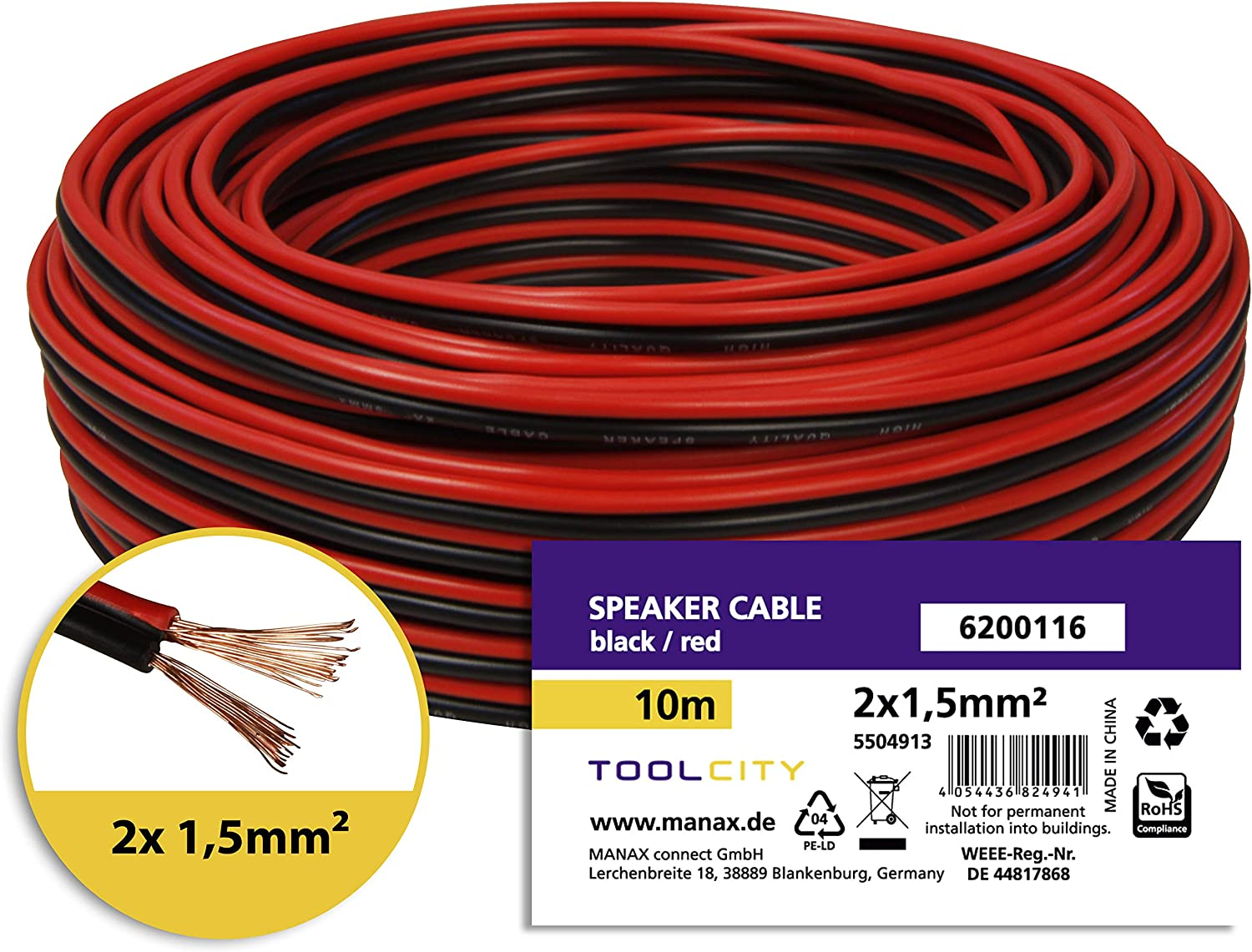 /25/M Transparent 2x1,50/mm/² Box Cable//Audio Cable/ Toolcity Speaker Cable Twin Wire