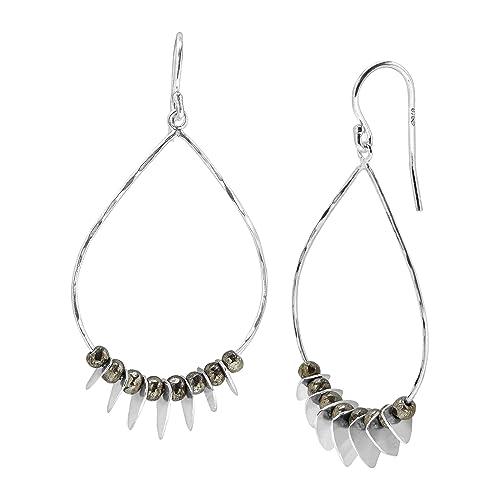 Silpada Patterned Pyrite Open Teardrop Drop Earrings with Natural Pyrite in Sterling Silver