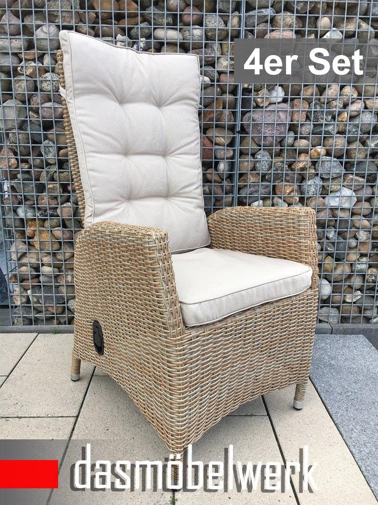 4er SET Dasmöbelwerk Polyrattan Hochlehner Verstellbare Rückenlehne Rattan  Stuhl Relax Sessel Gartenmöbel Gartenstuhl PISA Cappuccino Online Bestellen