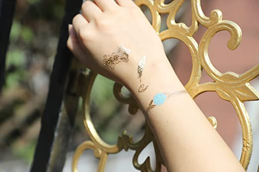 Metallic Temporary Tattoos Prettydate 6 Sheets 75 Designs In Gold