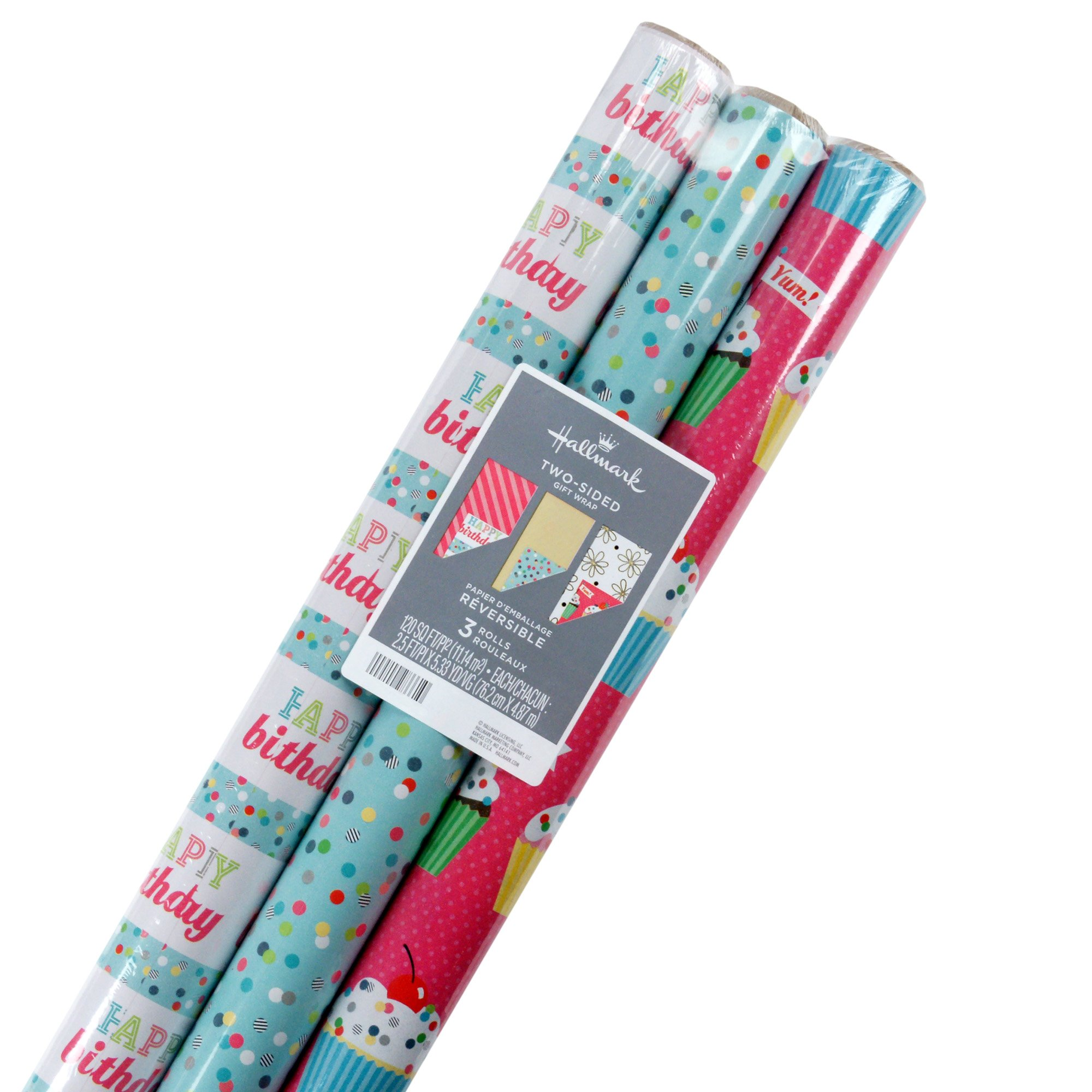 Hallmark Reversible Wrapping Paper, Birthday Flowers and Cupcakes (Pack of 3, 120 sq. ft. ttl.)
