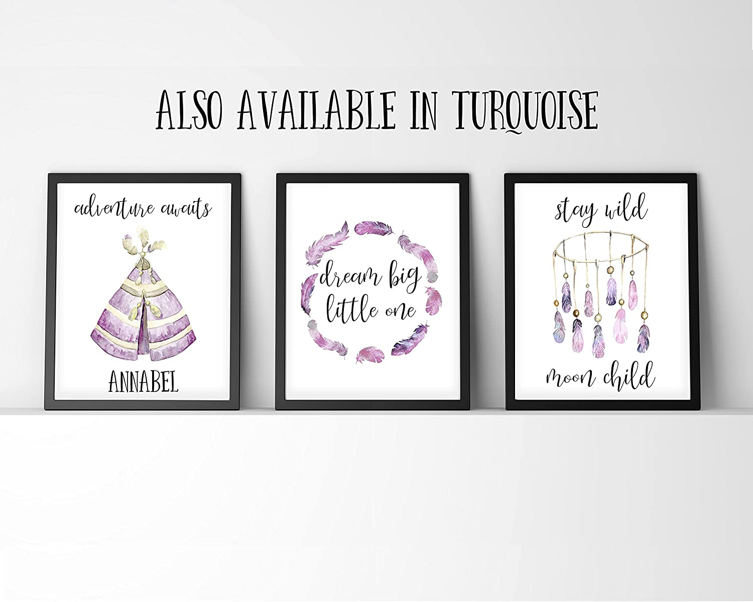 Adventure Awaits Print, Dream Big Little One Picture, Stay Wild Moon Child Wall Art, Set of 3 Prints