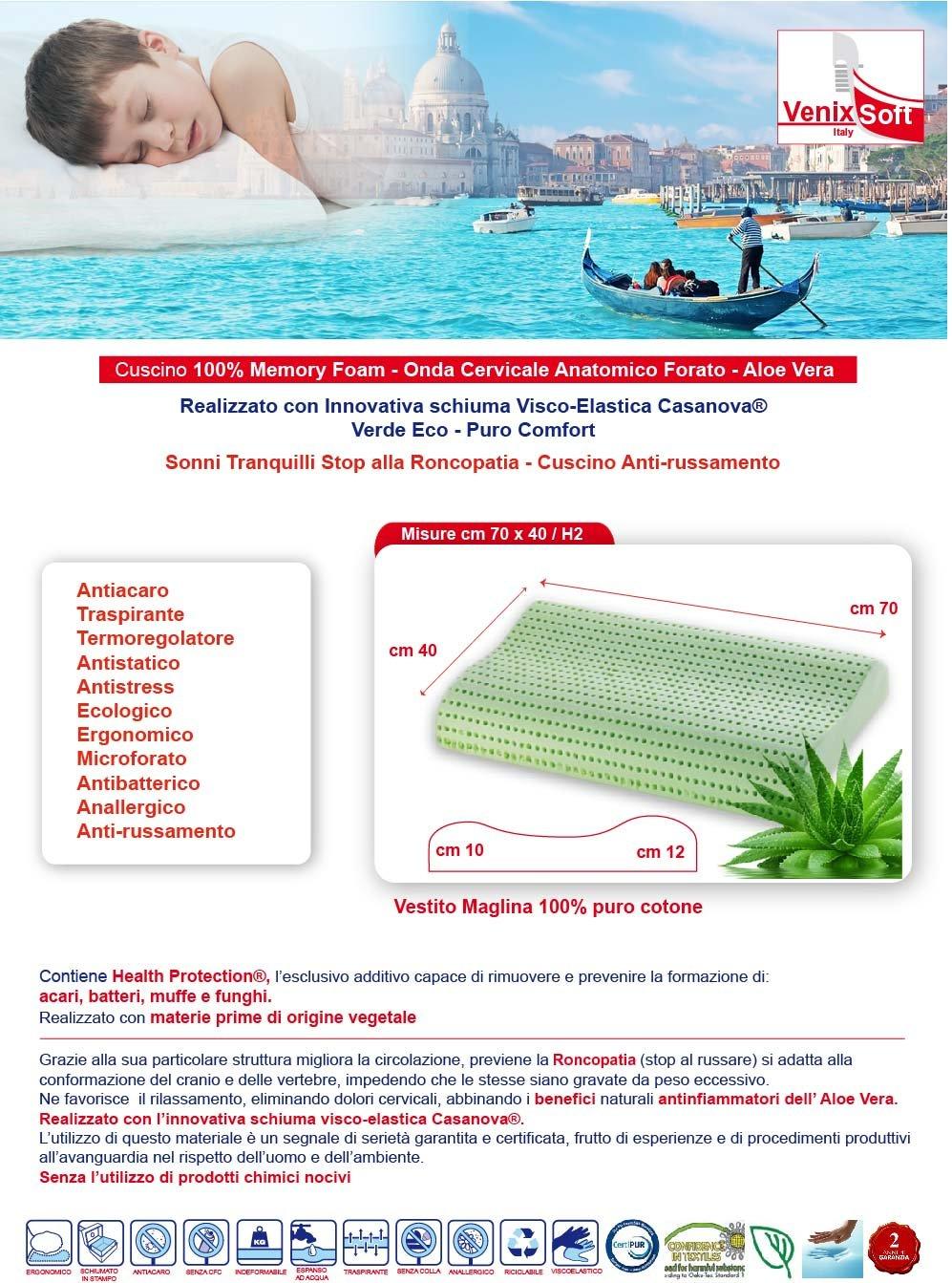 VENIXSOFT 4 Almohadas Memory Foam transpirable de Linfa de Aloe Vera efecto relajante y riposante-dispositivo médico Clase I-fodera algodón extraíble.