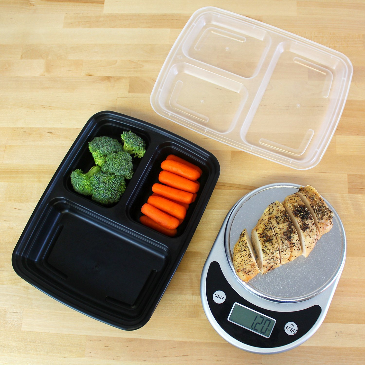 Freshware Meal Prep Containers [15 Pack] 3 Compartment with Lids, Food Containers, Lunch Box | BPA Free | Stackable | Bento Box, Microwave/Dishwasher/Freezer Safe, Portion Control, 21 day fix (32 oz) by Freshware (Image #4)