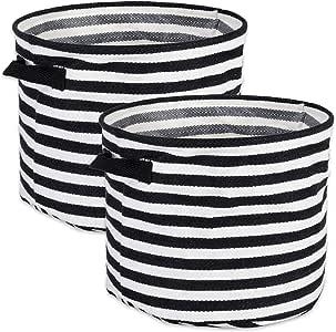 DII Fabric Round Room, Nurseries, Closets & Everyday Storage Needs, Large Set of 2-Black Stripe Laundry Bin,