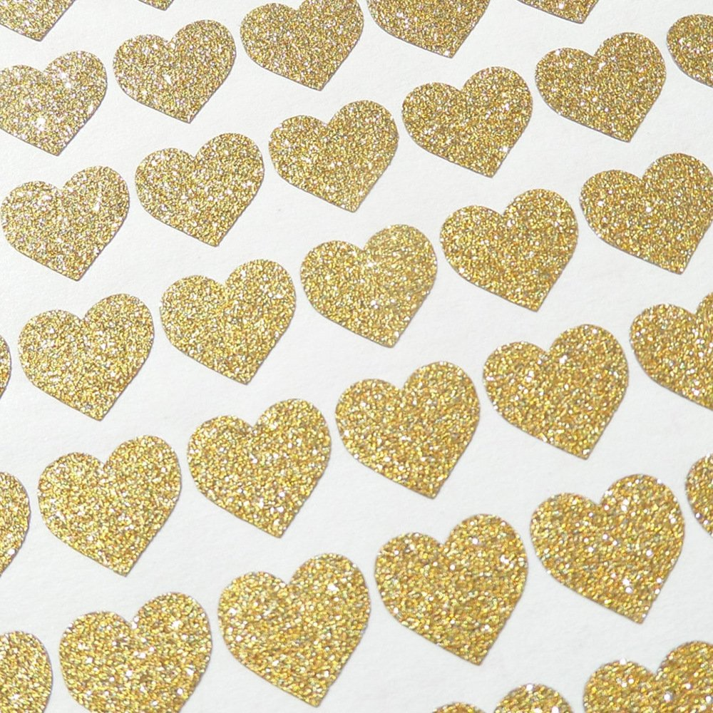 Amaonm 72 Pcs Removable Sparkling Gold Heart Wall Decals Stickers DIY Peel and Stick Art Decor Vinyl Wall Decal for Home Walls Weeding Birthday Party Kids Room Nursery Bedroom Wall Decoration (Gold)