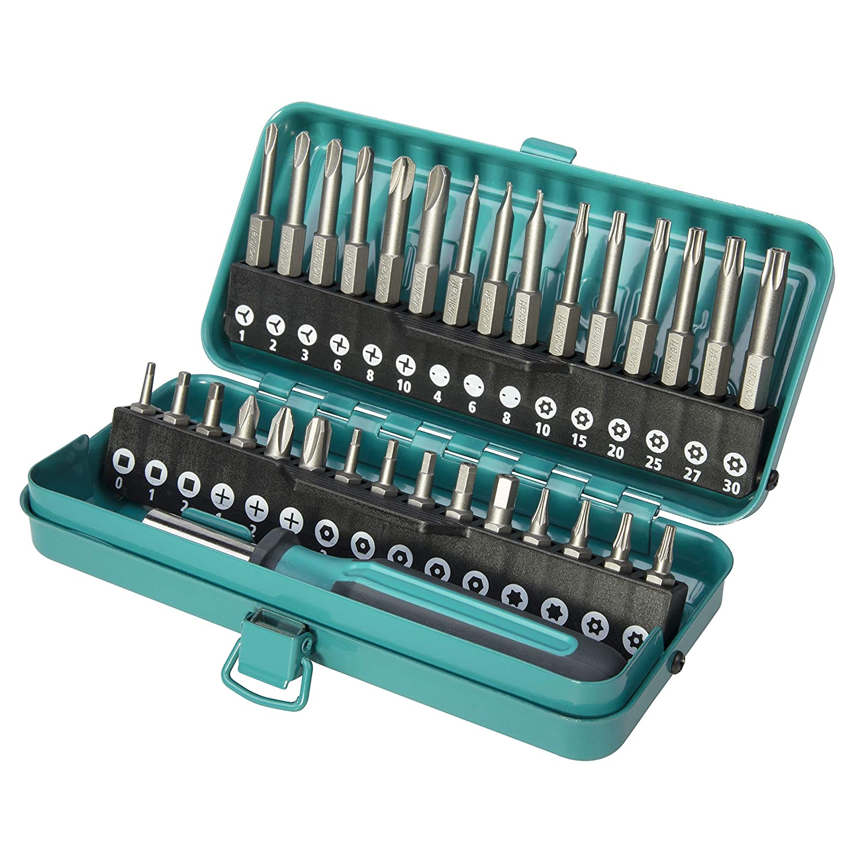 Wolfcraft 1386000 - Caja de puntas de seguridad combinadas, 31 pzas. en caja metálica. Puntas 25 mm: hembra cuadrada interior, Phillips, hexágono ...