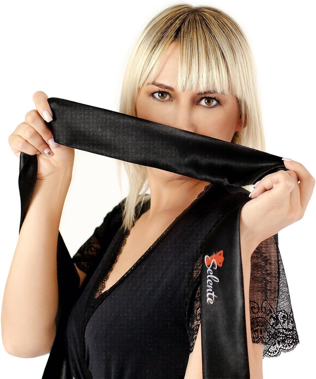 Made in EU Selente Sweet Dreams Elegante Camicia da Notte//neglig/é Donna con preziosi Dettagli in Pizzo ed Esclusiva Mascherina in Raso