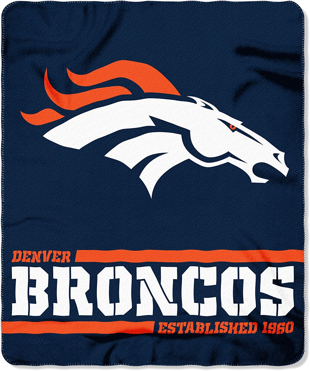 One Size Team Colors Northwest NFL Denver Broncos 50x60 Fleece Split Wide DesignBlanket