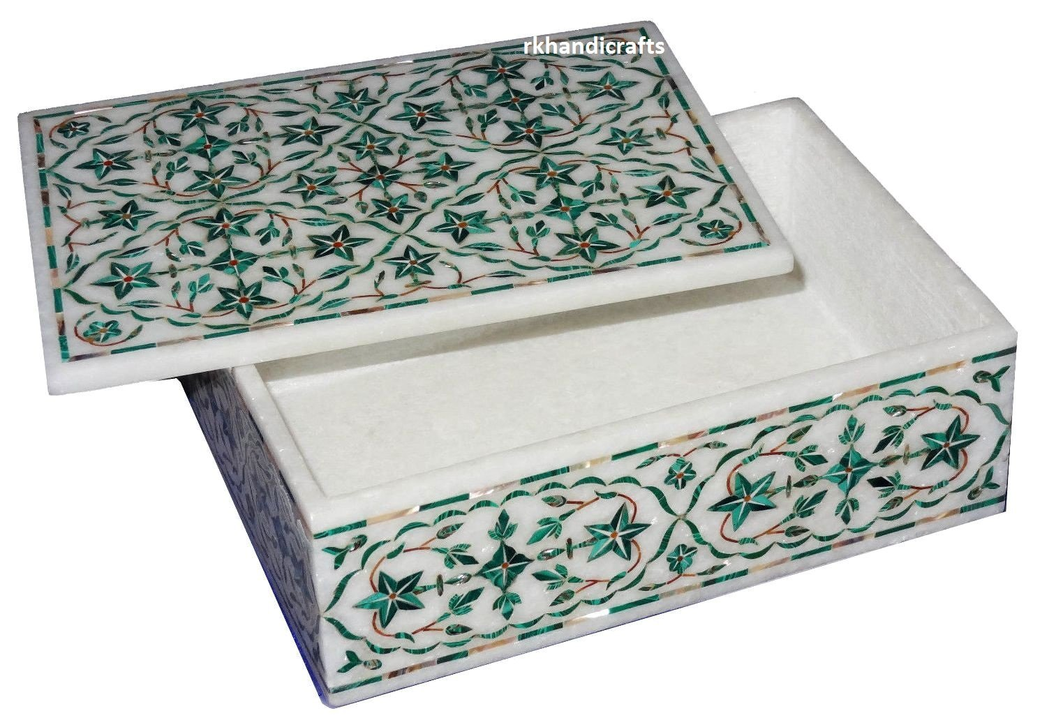 Very Fine Art 8'' x 6'' x 2'' White Marble Trinket Box Fully Malachite Stones Inlay Floral Work