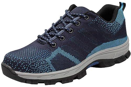 tqgold Zapatillas de Seguridad para Hombre Mujer, Zapatos de Trabajo con Punta de Acero (