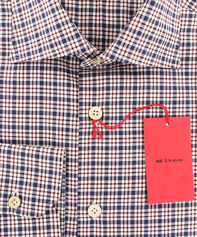 BN Slim $600 Kiton Blue Solid Cotton Shirt