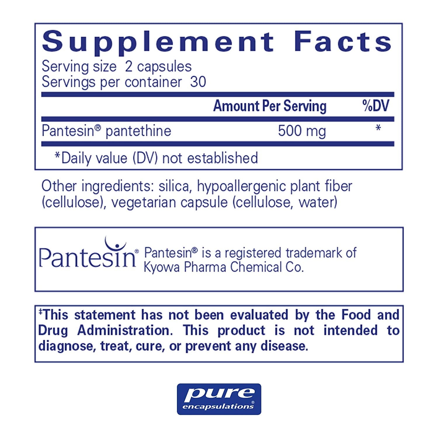 Pure Encapsulations – Pantethine – Hypoallergenic Supplement Supports Healthy Lipid Metabolism and Cardiovascular Function* – 60 Capsules