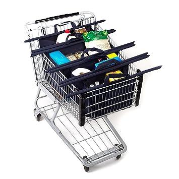 Bolsas de comestibles reutilizables y carrito de la compra bolsas de bolsas (4), carro, respetuoso con el medio ambiente, Heavy Duty Doble cosido costura: ...