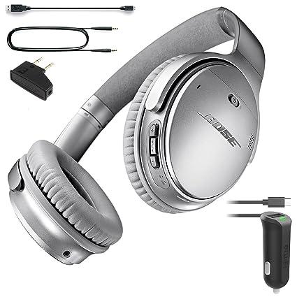 2f2e61247dd Bose QuietComfort 35 (Series I) Bluetooth Wireless Noise Cancelling  Headphones - Silver & Car