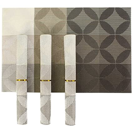 Hokipo Pvc Dining Table Kitchen Placemats, 45 X 30 Cm, 4 Pieces, 1 Set - Grey