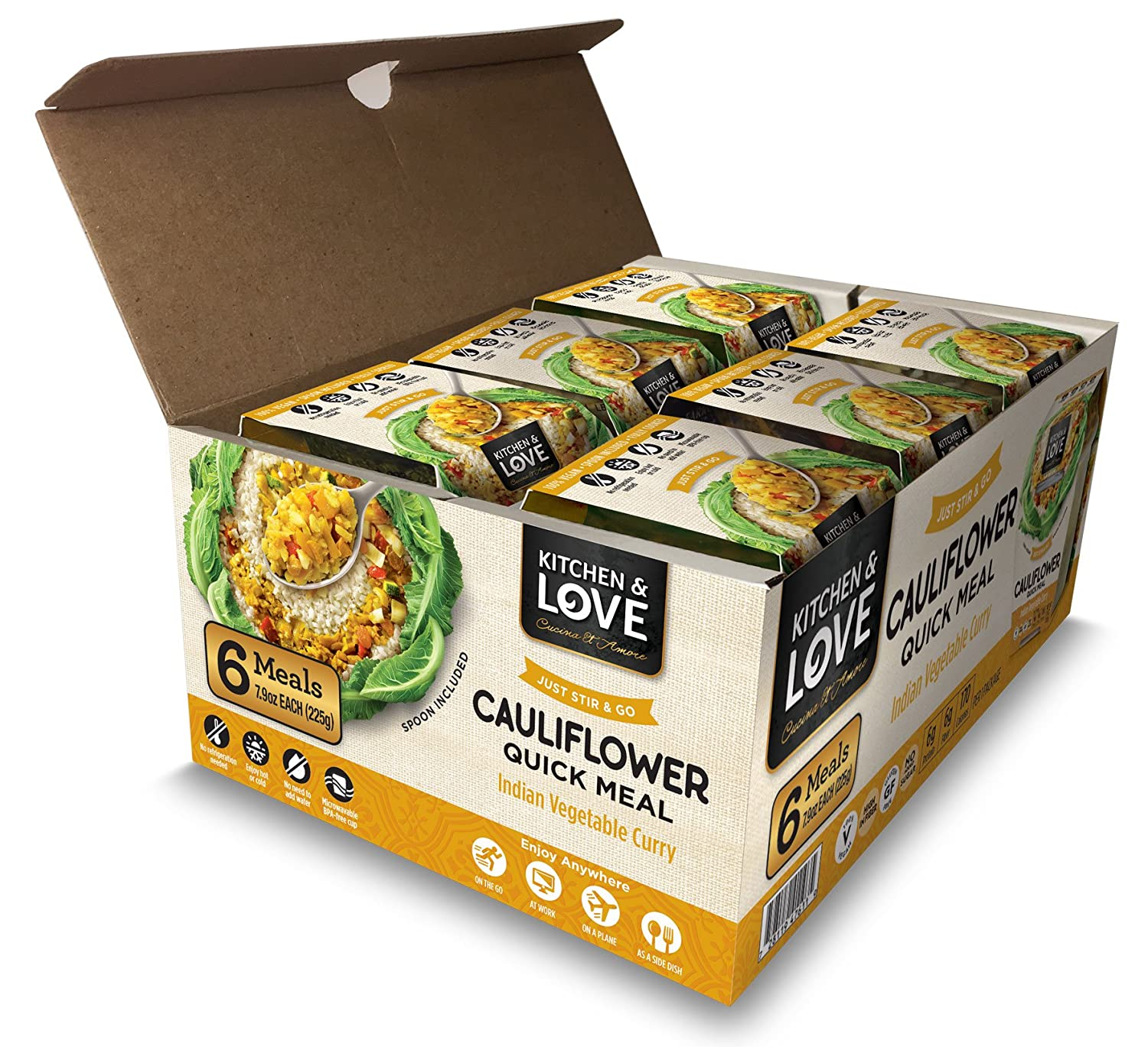 Kitchen & Love Indian Vegetable Curry Cauliflower Quick Meal 6-Pack | Vegan, Gluten-Free, Keto, Ready-to-Eat, No Refrigeration Required