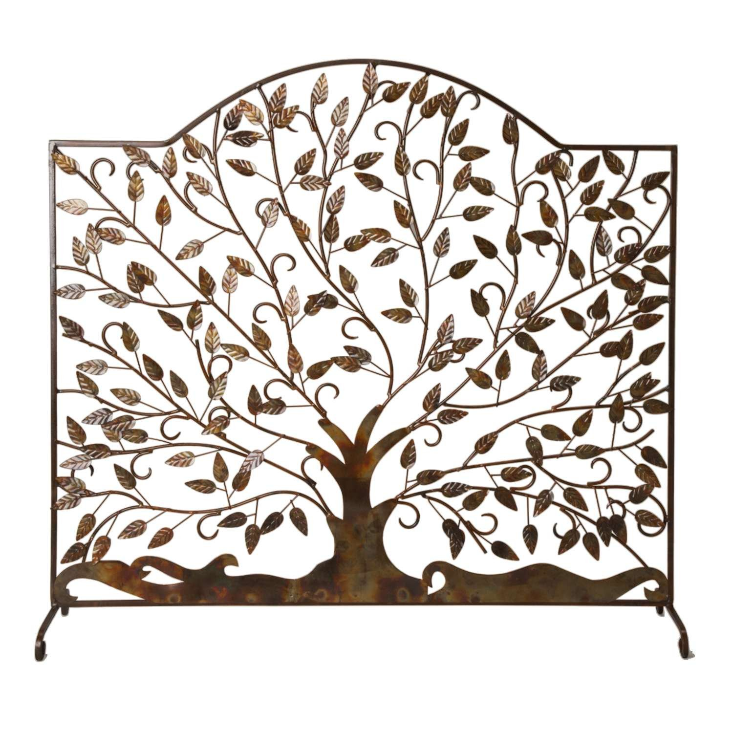 Handcrafted Decorative Fireplace Iron Screen, Tree Design 35''x33'' 'Leaves of Flame Fire Screen'