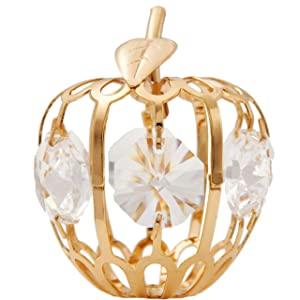 Matashi 24K Gold Plated 2.75 inch Apple Ornament with Clear Crystals Tabletop Centerpiece Showpiece for Living Room Gift for Christmas Birthday Anniversary Office Home Decor