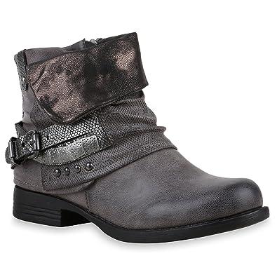 601a911ac7ad34 Stiefelparadies Damen Stiefeletten Biker Boots Flandell  Amazon.de ...