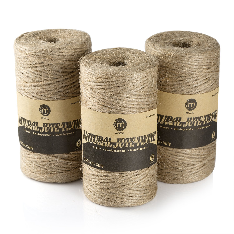Mceal Natural Jute Twine String for Packing 1050 Feet Art & Craft Gardening (3 Ply 3 PCS x 350 FT)