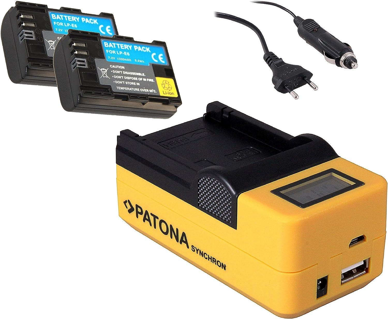 2 x profesional batería como Canon LP-E6 LP-E6 N Incluye 5 en 1 LCD Cargador de batería para Canon EOS 5DS, EOS 5DS R, EOS 7d, EOS 60Da, EOS 60d, EOS 70d,