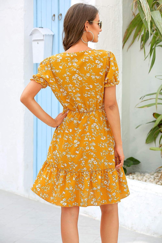 Aswinfon Summer Dress for Women Short Sleeve A-line Bohemian Floral Print Casual V Neck Beach Mini Dresses Sundress C- Yellow