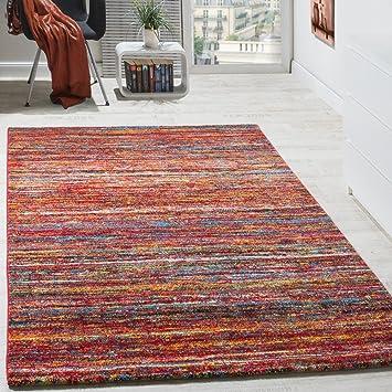 Paco Home Teppiche Modern Wohnzimmer Teppich Spezial Melierung Rot  Multicolour Meliert, Grösse:160x230 Cm