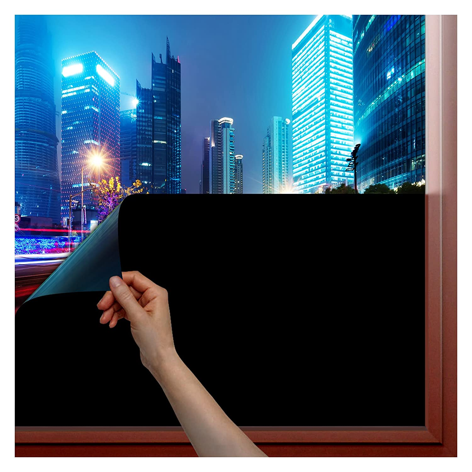 BDF 1BKOT Window Film Blackout (Non Adhesive Static Cling) 100% Light Blocking - Easy Installation, Removal & No Residue- 36in X 14ft