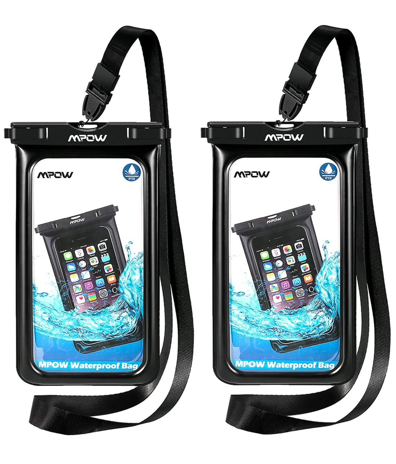 Mpow Upgraded Floating Waterproof Phone Pouch, IPX8 Waterproof Case Underwater New Type TPU Dry Bag for iPhone Xs Max/Xr/X/8/8plus/7/7plus/6s/6/6s Plus Galaxy s10/s9/s8 Google Pixel HTC12(Black) by Mpow