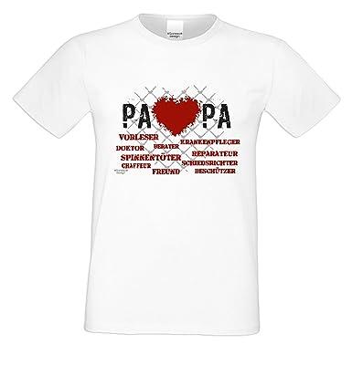 Vatertagsgeschenk T-Shirt Geschenkidee Motiv Herz Papa Geburtstagsgeschenk  auch in Übergrößen Freizeit-Oberteil Farbe: weiss: Amazon.de: Bekleidung