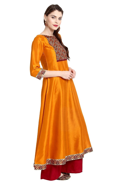 Janasya Indian Tunic Tops Poly Silk Kurti for Women