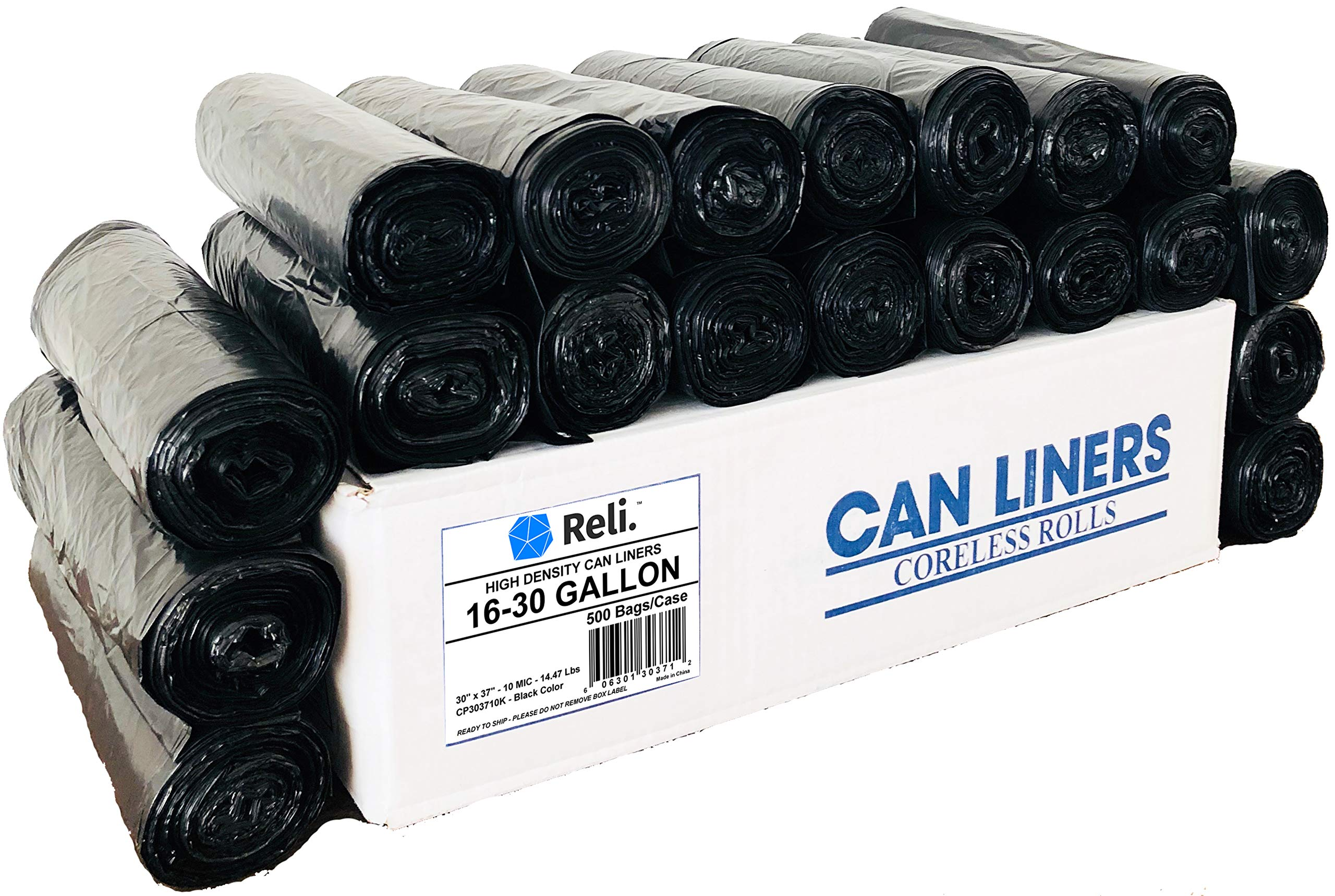 Reli. Trash Bags, 16-30 Gallon (500 Count Wholesale) - High Density Rolls (Black) - Can Liners, Garbage Bags with 16 Gallon (16 Gal) to 30 Gallon (30 Gal) Capacity