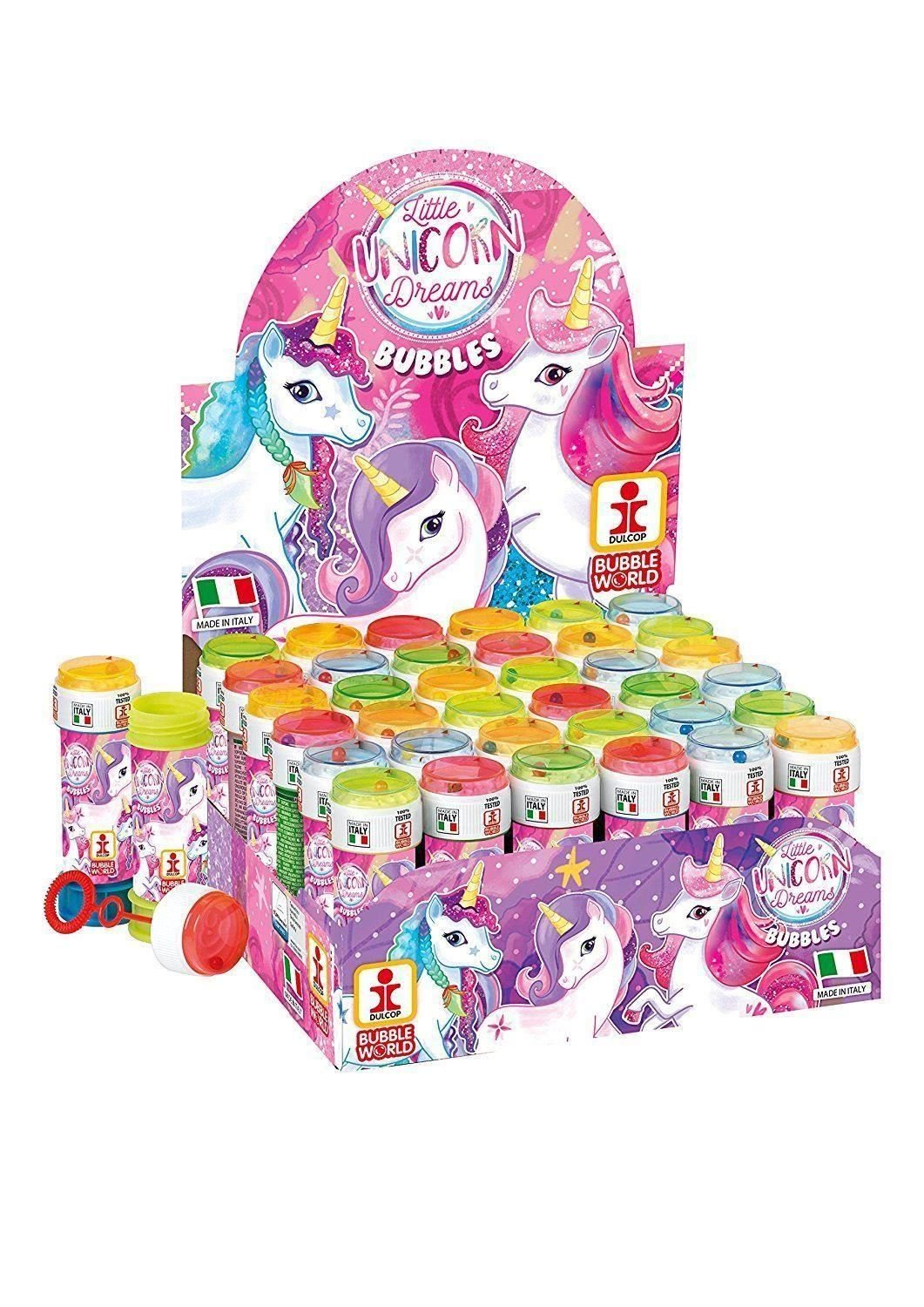 12 x Unicorn Bubbles with Puzzle Maze Lid The Harlequin Brand