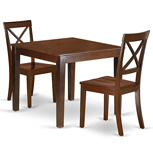 OXBO3-MAH-W 3Pc Square 36 Dinner Table And A Pair Of Wood Seat Chairs
