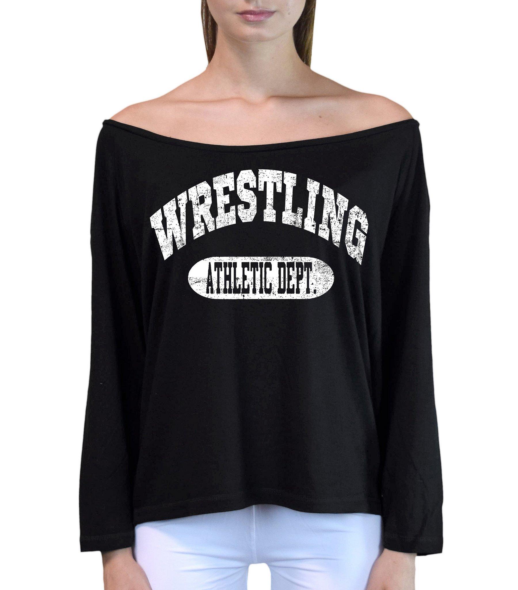 Interstate Apparel Inc Junior's Wrestling Athletic Dept. Black Off-Shoulder Long Sleeve T-Shirt S/M Black
