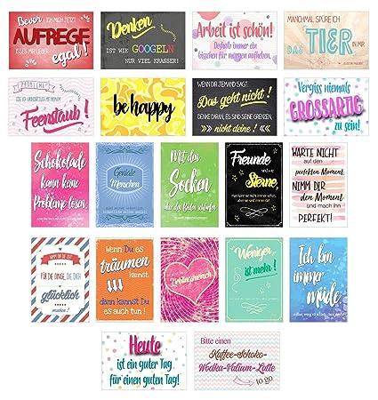 Edition Seidel Set 20 Postkarten Mit Sprüchen Karten Mit Spruch Geschenkidee Dekoidee Liebe Freundschaft Leben Motivation Lustig