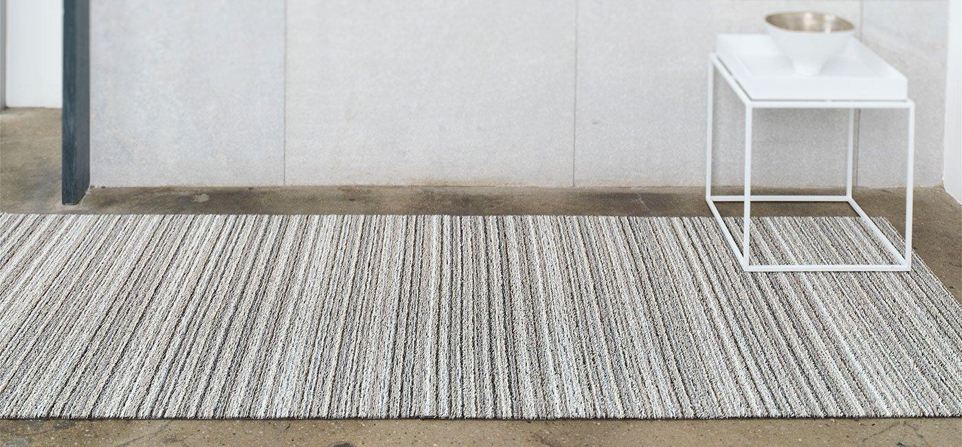 Chilewich Shag Indoor/Outdoor Floor Runner Birch 24'' X 72'' (Vertical Stripes)