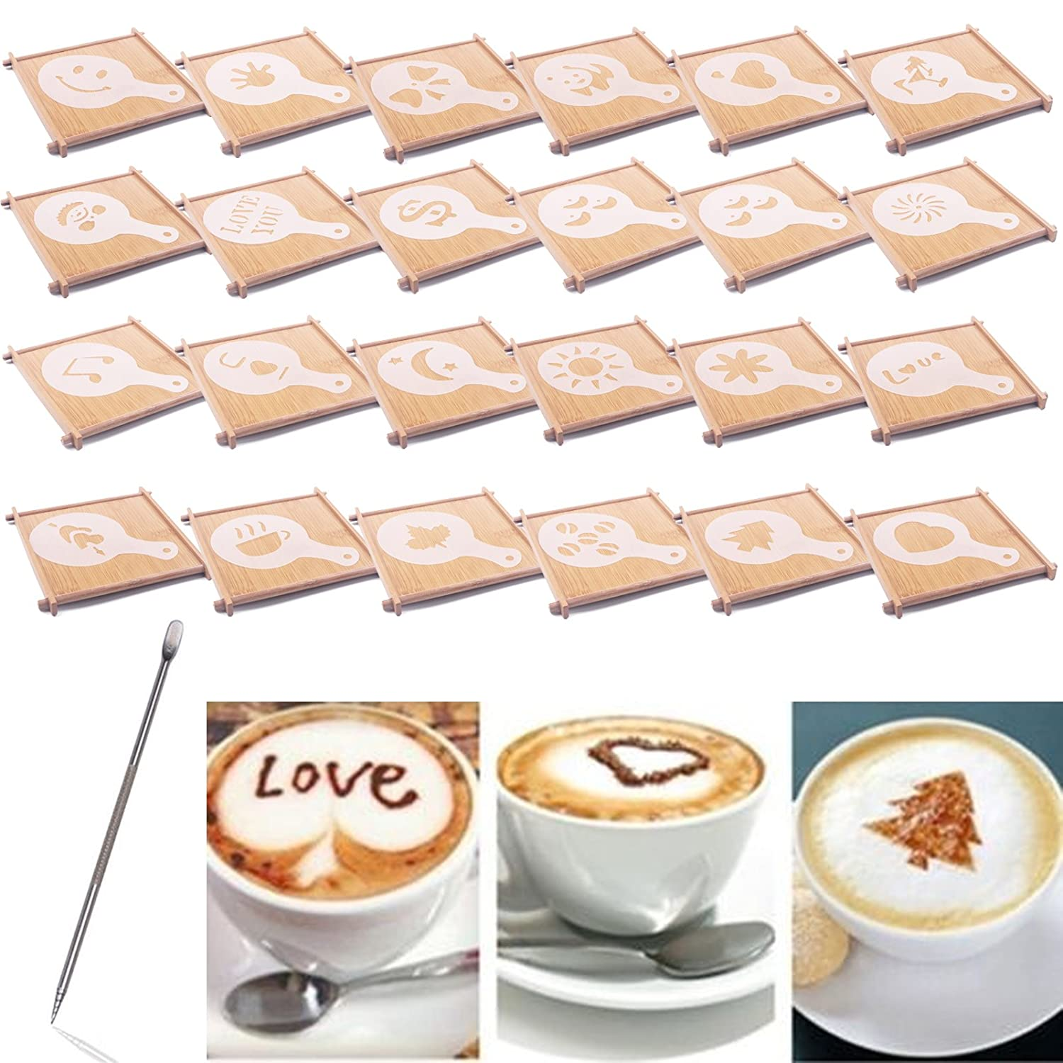 BIHRTC 24 Pcs 23 Designs Cappuccino Latte Barista Coffee Art Stencils Template Strew Pad Duster Spray Art + 1pc Coffee Latte Art Pen LTD