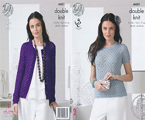 611d33ba7ee8 King Cole Ladies Double Knitting Pattern Womens Lace Effect Sweater    Cardigan Glitz DK (4401)  Amazon.co.uk  Kitchen   Home