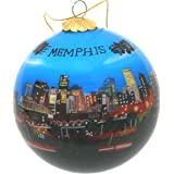 Hand Painted Glass Christmas Ornament - Memphis, Tennessee Skyline