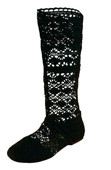 32abd14f91512 BABOOTS Women's Summer Black Crochet Boots