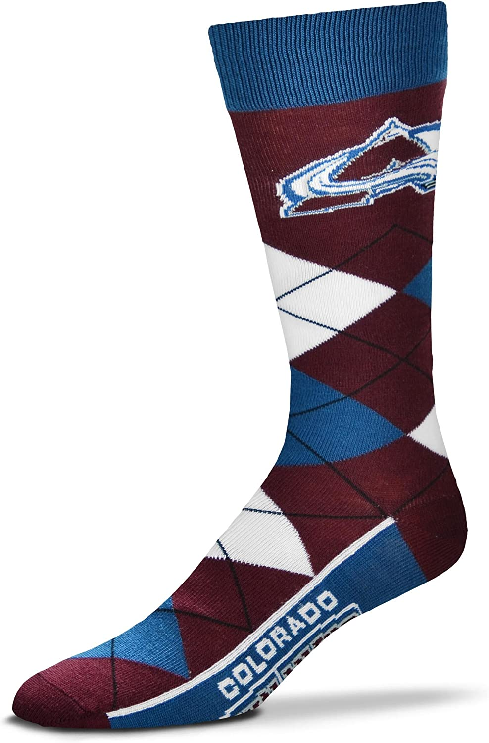 For Bare Feet NHL Argyle Lineup Unisex Crew Dress Socks-One Size Fits Most-Colorado Avalanche