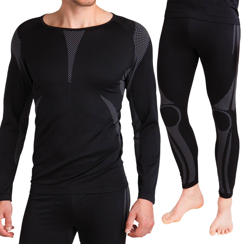 Sport Funktionswäsche Herren Set (Hemd + Hose) Seamless von celodoro - Ski-, Thermo- & Funktionswäsche ohne störende Nähte mit Elasthan - Funktionsunterwäsche in versch. Farben
