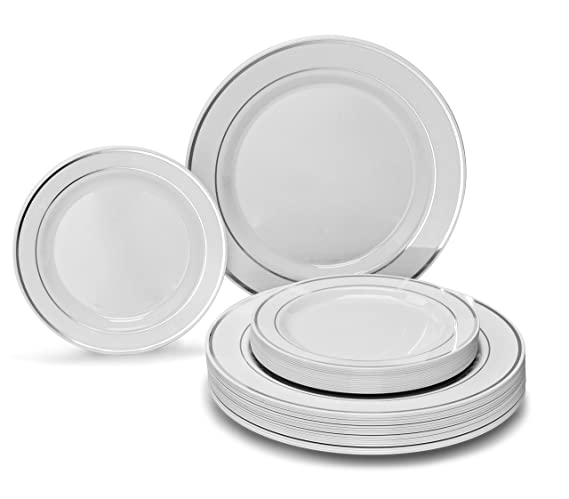 """"""" OCCASIONS"""" 50 piece Party Disposable Dinnerware Set - Wedding Plastic Plates for 25 guests (50 Piece (25 Guest), a. White w/Silver Rim)"""